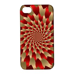 Fractal Red Petal Spiral Apple iPhone 4/4S Hardshell Case with Stand