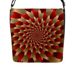 Fractal Red Petal Spiral Flap Messenger Bag (L)
