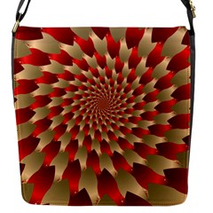 Fractal Red Petal Spiral Flap Messenger Bag (S)