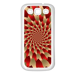 Fractal Red Petal Spiral Samsung Galaxy S3 Back Case (white)
