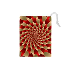 Fractal Red Petal Spiral Drawstring Pouches (small)