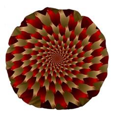Fractal Red Petal Spiral Large 18  Premium Flano Round Cushions