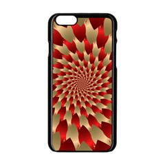 Fractal Red Petal Spiral Apple iPhone 6/6S Black Enamel Case