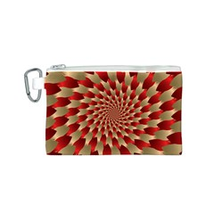 Fractal Red Petal Spiral Canvas Cosmetic Bag (S)