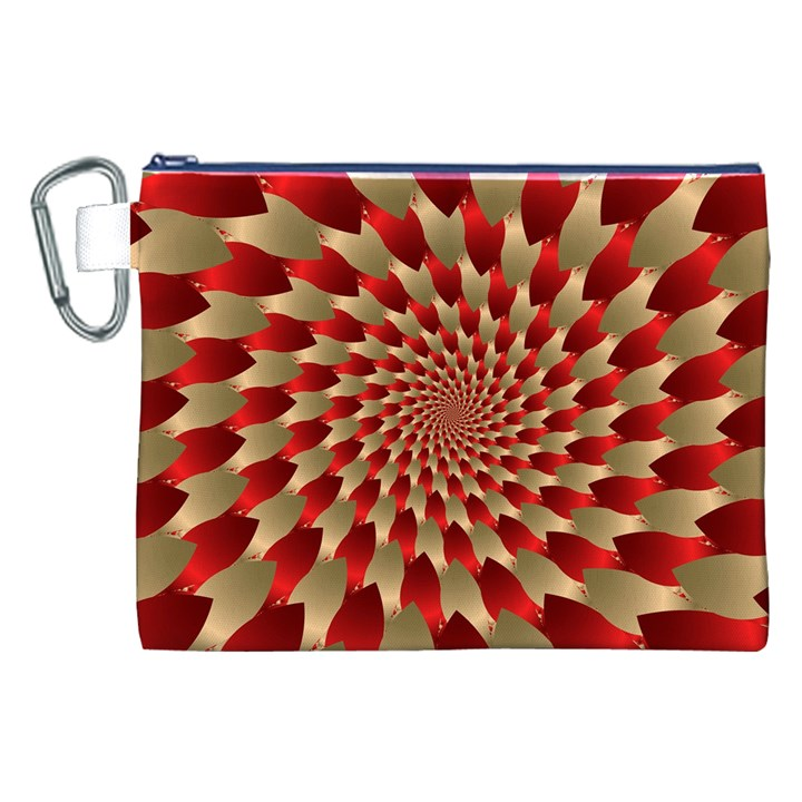 Fractal Red Petal Spiral Canvas Cosmetic Bag (XXL)