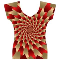 Fractal Red Petal Spiral Women s V-Neck Cap Sleeve Top