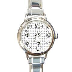 Fractal Design Pattern Round Italian Charm Watch