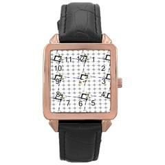 Fractal Design Pattern Rose Gold Leather Watch