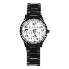 Fractal Design Pattern Stainless Steel Round Watch