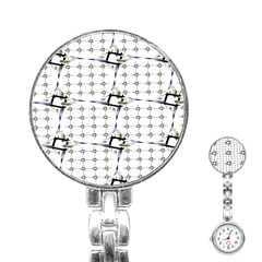 Fractal Design Pattern Stainless Steel Nurses Watch