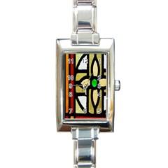 A Detail Of A Stained Glass Window Rectangle Italian Charm Watch