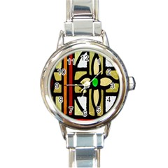A Detail Of A Stained Glass Window Round Italian Charm Watch