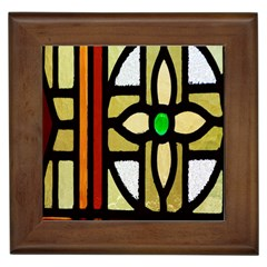 A Detail Of A Stained Glass Window Framed Tiles