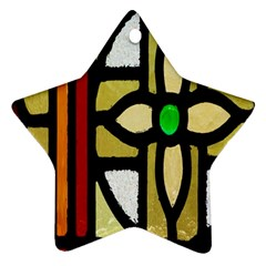 A Detail Of A Stained Glass Window Ornament (star)