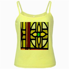 A Detail Of A Stained Glass Window Yellow Spaghetti Tank