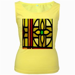A Detail Of A Stained Glass Window Women s Yellow Tank Top