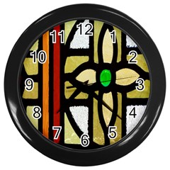 A Detail Of A Stained Glass Window Wall Clocks (black)