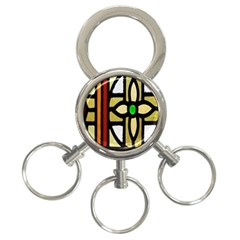 A Detail Of A Stained Glass Window 3 Ring Key Chains