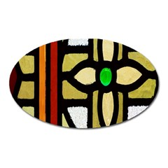 A Detail Of A Stained Glass Window Oval Magnet
