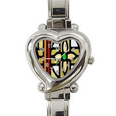A Detail Of A Stained Glass Window Heart Italian Charm Watch