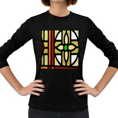 A Detail Of A Stained Glass Window Women s Long Sleeve Dark T Shirts