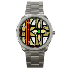 A Detail Of A Stained Glass Window Sport Metal Watch