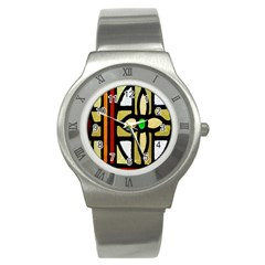 A Detail Of A Stained Glass Window Stainless Steel Watch
