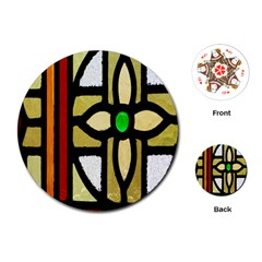 A Detail Of A Stained Glass Window Playing Cards (Round)