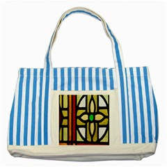 A Detail Of A Stained Glass Window Striped Blue Tote Bag