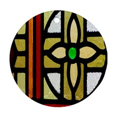 A Detail Of A Stained Glass Window Round Ornament (two Sides)