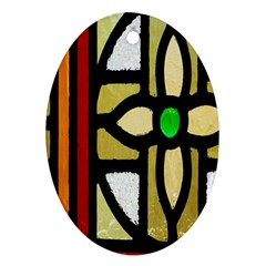 A Detail Of A Stained Glass Window Oval Ornament (Two Sides)