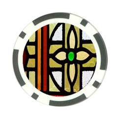 A Detail Of A Stained Glass Window Poker Chip Card Guard