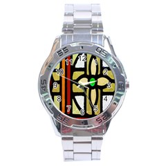 A Detail Of A Stained Glass Window Stainless Steel Analogue Watch