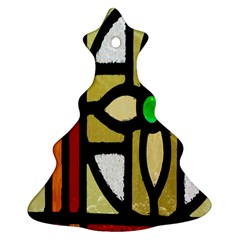 A Detail Of A Stained Glass Window Ornament (christmas Tree)