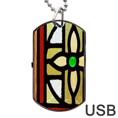 A Detail Of A Stained Glass Window Dog Tag USB Flash (One Side)