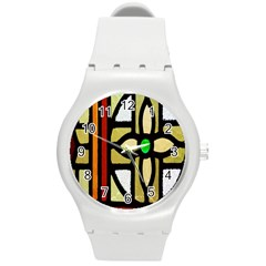 A Detail Of A Stained Glass Window Round Plastic Sport Watch (m)