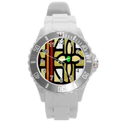 A Detail Of A Stained Glass Window Round Plastic Sport Watch (l)
