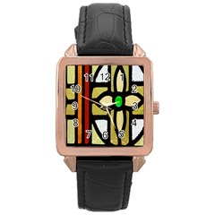 A Detail Of A Stained Glass Window Rose Gold Leather Watch