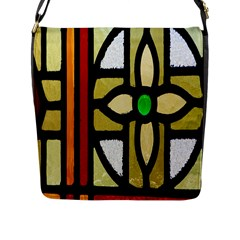 A Detail Of A Stained Glass Window Flap Messenger Bag (l)