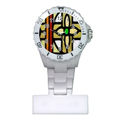 A Detail Of A Stained Glass Window Plastic Nurses Watch