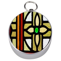 A Detail Of A Stained Glass Window Silver Compasses