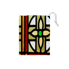A Detail Of A Stained Glass Window Drawstring Pouches (small)
