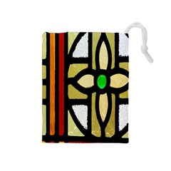 A Detail Of A Stained Glass Window Drawstring Pouches (medium)