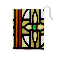 A Detail Of A Stained Glass Window Drawstring Pouches (large)
