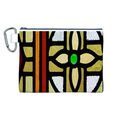 A Detail Of A Stained Glass Window Canvas Cosmetic Bag (l)