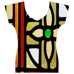 A Detail Of A Stained Glass Window Women s V-Neck Cap Sleeve Top