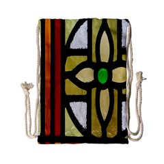 A Detail Of A Stained Glass Window Drawstring Bag (small)