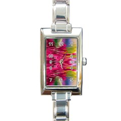 Abstract Pink Colorful Water Background Rectangle Italian Charm Watch