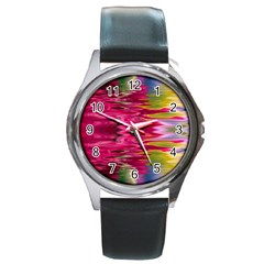 Abstract Pink Colorful Water Background Round Metal Watch