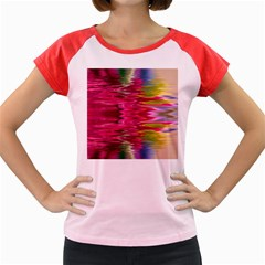 Abstract Pink Colorful Water Background Women s Cap Sleeve T-Shirt